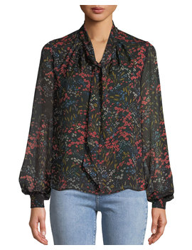 Long Sleeve Tie Neck Floral Print Silk Chiffon Blouse by Neiman Marcus
