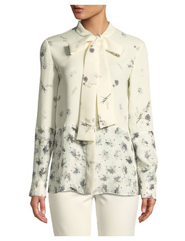 Mixed Floral Tie Neck Silk Blouse by Neiman Marcus