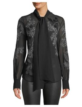 Lisanna Tie Neck Floral Embroidered Silk Georgette Blouse by Lafayette 148 New York