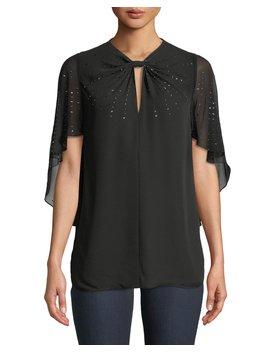 Yona Cape Sleeve Sequin Silk Blouse by Elie Tahari