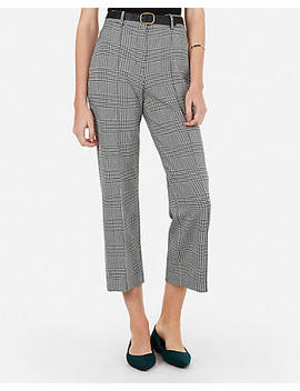 High Waisted Houndstooth Straight Cropped Pants by Express