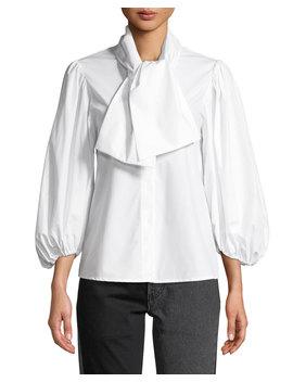 Esther Tie Neck Blouson Sleeve Poplin Top by Neiman Marcus