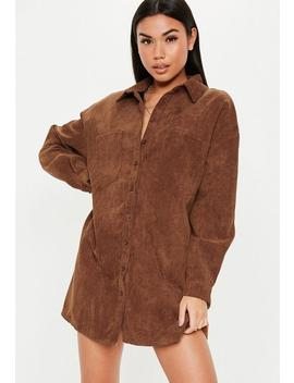 Tan Oversized Cord Shirt Dress by Missguided