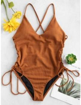 Lace Up Cross High Cut Swimsuit   Brown Xl by Zaful