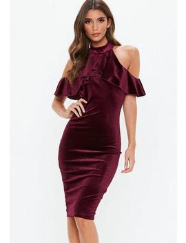 Burgundy Velvet High Neck Frill Cold Shoulder Midi Dress by Missguided