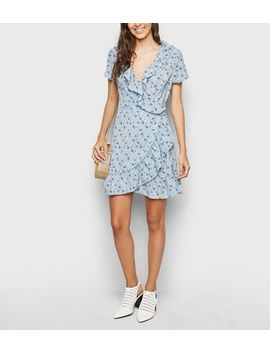 Brave Soul Blue Floral Wrap Dress by New Look