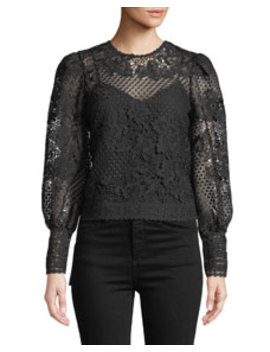 Rodia Cropped Floral Lace Long Sleeve Top by Joie