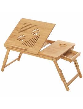 Songmics Tavolino Porta Laptop In Bambù Pieghevole, Vassoio Per Pc Notebook Da Letto Computer Portatile, Tavolino D'appoggio Inclinabile 55 X 35 X 29 Cm Lld002 by Songmics