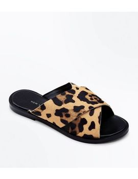 Wide Fit Stone Leather Leopard Print Sliders by New Look