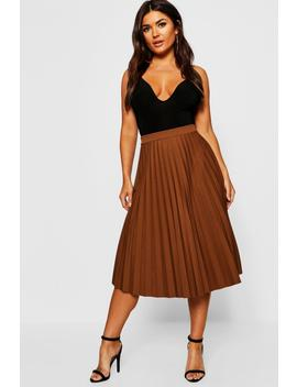 Pleated Midi Skirt by Boohoo