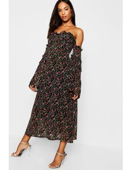 Tall Bustier Detail Ditsy Floral Midi Dress by Boohoo