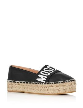 Women's Logo Leather Espadrille Flats by Moschino