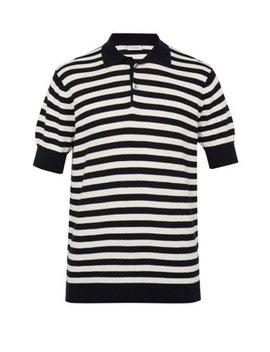 Striped Honeycomb Knit Cotton Polo Shirt by P. Johnson