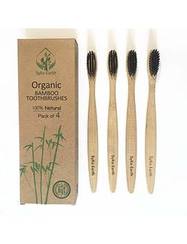 Spazzolini Da Denti In Bamboo Naturale Con Setole In Carbone Vegetale , 100 Percents Biodegradabile, Confezione Famiglia Di 4 Spazzolini Da Denti , Setole Medie Dure by Sy Ka Earth