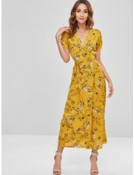 Floral Wrap Dress With Ruched   Yellow L by Zaful