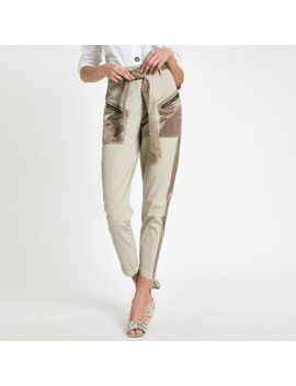 Beige Satin Detail Belted Cargo Pants by River Island