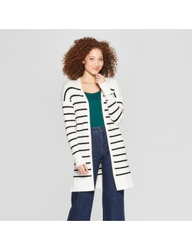 Women's Striped Long Sleeve Open Cardigan   A New Day™ by A New Day