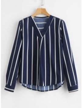 V Neck High Low Striped Blouse   Navy Blue L by Zaful