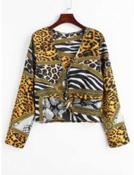 Zaful Leopard Snake Print Twist Top   Leopard M by Zaful
