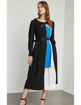 Colorblocked Pleated Midi Dress by Bcbgmaxazria