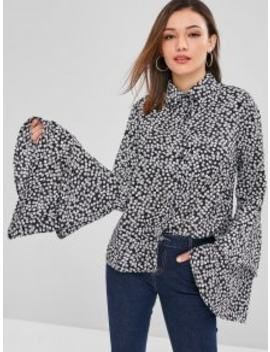 Zaful Tiny Floral Bell Sleeves Shirt   Black S by Zaful