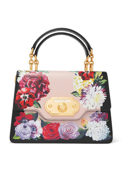 Welcome Medium Floral Print Textured Leather Tote by Dolce & Gabbana