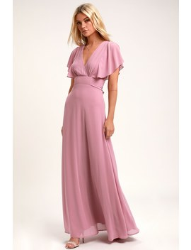 Dearly Loved Mauve Flutter Sleeve Maxi Dress by Lulus