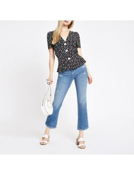 Black Daisy Print Button Front Tea Top by River Island