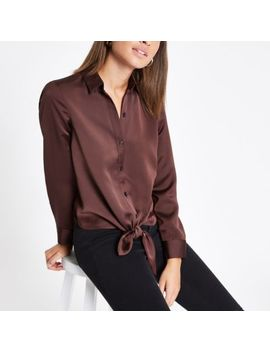 Dark Brown Tie Front Button Up Shirt by River Island