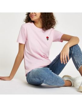 Pink Rose Embroidered T Shirt by River Island