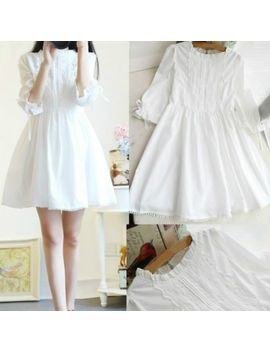 Lady Kawaii Princess Japanese Sweet Lolita Girl Lace White Vintage Dresses Fairy by Unbranded