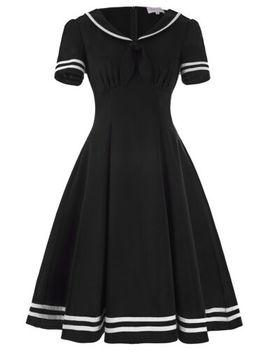Women Sailor Retro Nautical Costume Dress Pin Up Vintage 50s Swing Party Dresses by Belle Poque