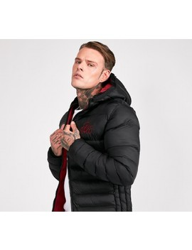 Coast Puffer Jacket   Black / Red by Bee Inspired