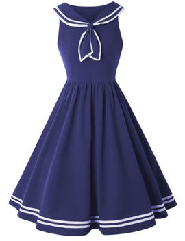 50s 60s Vintage Pinup Nautical Sailor Rockabilly Swing Party Dress Full Circle by Unbranded