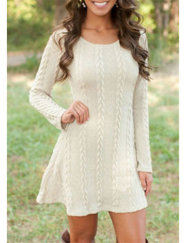 Womens Long Sleeve Knitwear Jumper Tops Ladies Slim Knitted Sweater Swing Dress by Unbranded