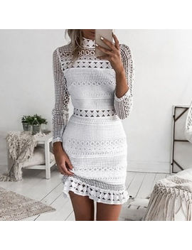 Women Lace Hollow Bodycon Dress Summer Style Dresses Long Sleeve Casual Vestidos by Unbranded