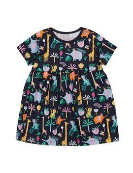 Bluezoo   Baby Girls' Navy Safari Animal Print Dress by Bluezoo