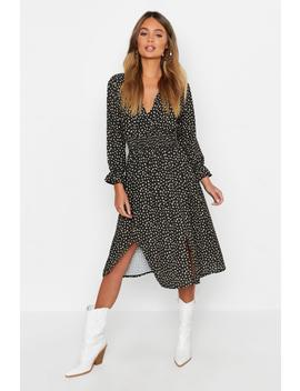 Boho Ditsy Floral Split Front Midi Dress by Boohoo