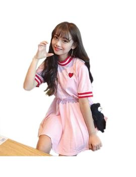 Women Harajuku Short Sleeve Sweet Kawaii Love Embroidery Cute Dresses by Love