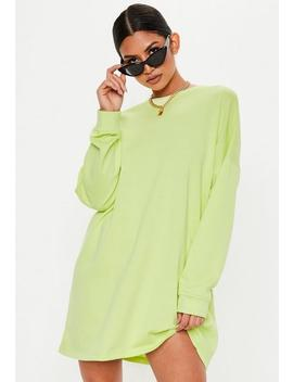 Lime Green Oversized Sweater Dress by Missguided