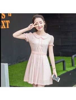 Lovely Sweet Short Sleeve Peter Pan Collar Slim Lolita Girl Women Princess Dress by Unbranded