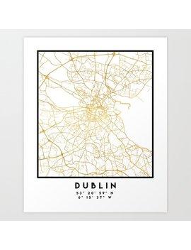 Dublin Ireland City Street Map Art Art Print by