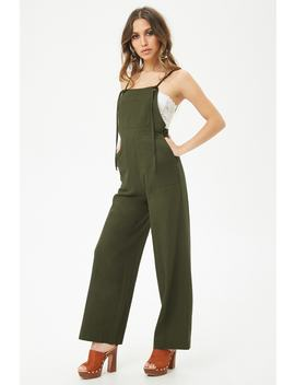 Linen Blend Self Tie Overalls by Forever 21