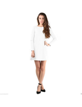Womens Ladies Long Sleeve Plain Scoop Neck Flared Swing Dress Top Plus Size 8 26 by Unbranded