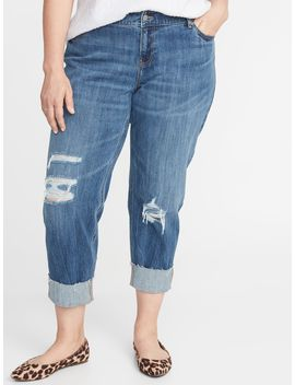 Mid Rise Plus Size Boyfriend Straight Distressed Jeans by Old Navy
