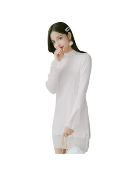 Women Sweet Middle Long Knitting Dress Solid Color Patchwork Flare Sleeve Dress by Unbranded