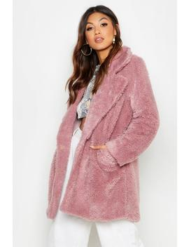 Pocket Front Teddy Faux Fur Coat by Boohoo