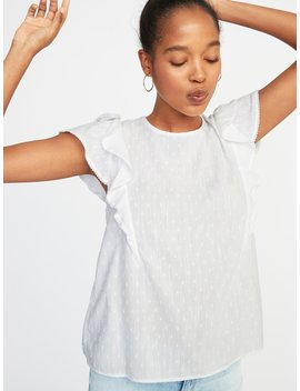 Ruffle Sleeve Swiss Dot Top For Women by Old Navy