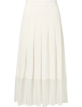 Pleated Satin Trimmed Crepe De Chine Skirt by Co