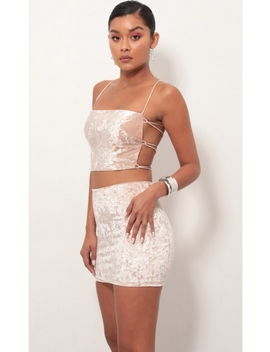 Ava Crushed Velvet Lace Up Set In Rose by Lucy In The Sky